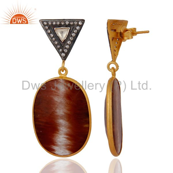Exporter 18KT Gold Plated Rutilated Quartz Slice CZ Earrings Made in 925 Sterling Silver