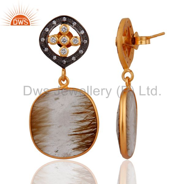 Exporter 18KT Gold Plated Sterling Silver Golden Rutile Quartz Dangle Earrings With CZ