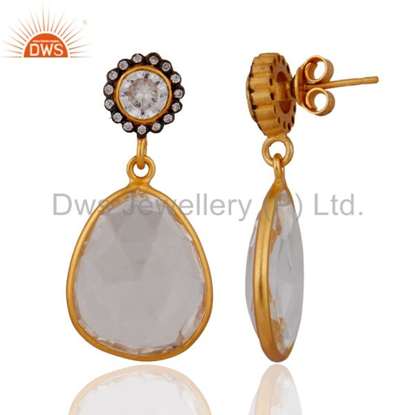 Exporter Gold Plated 925 Sterling Silver Crystal Quartz Dangle Earrings With White Zircon