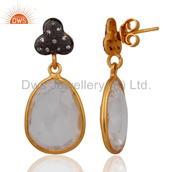 Exporter Natural Clear Quartz Crystal Dangle Earring in Gold Plated On Sterling Silver
