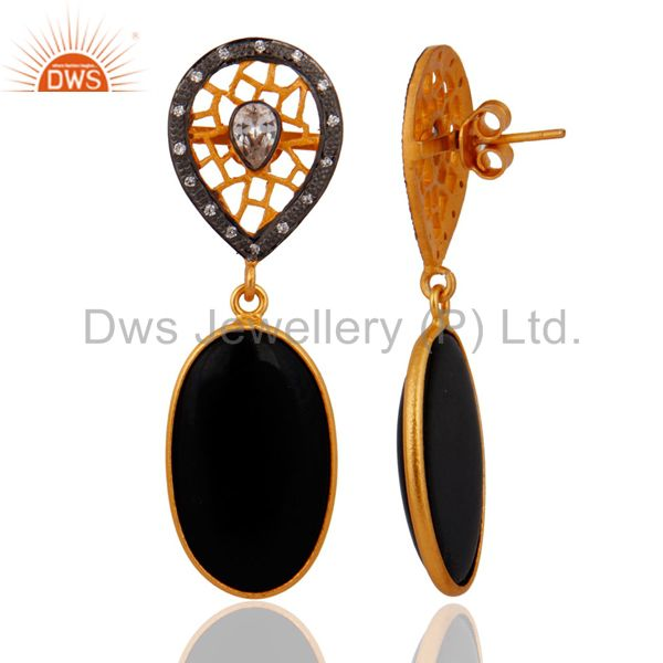 Exporter 925 Sterling SIlver White Zircon & Black Onyx Gemstone Earring With Gold Plated