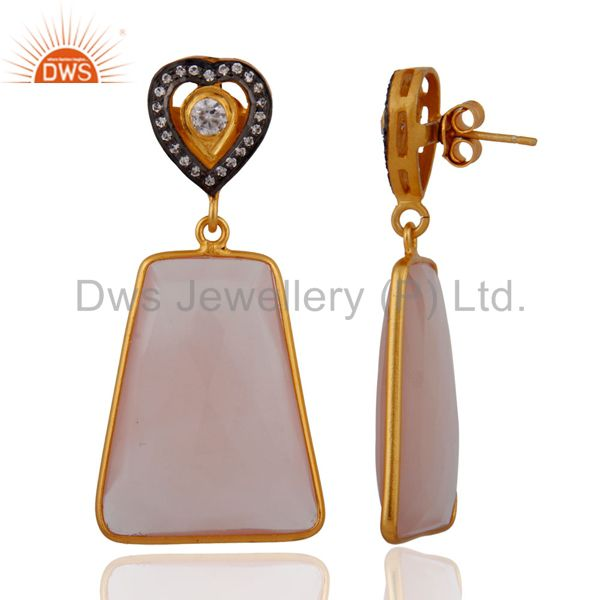 Exporter Natural Chalcedony Faceted Gemstone Bezel Drop Earring in Gold Plated on Silver