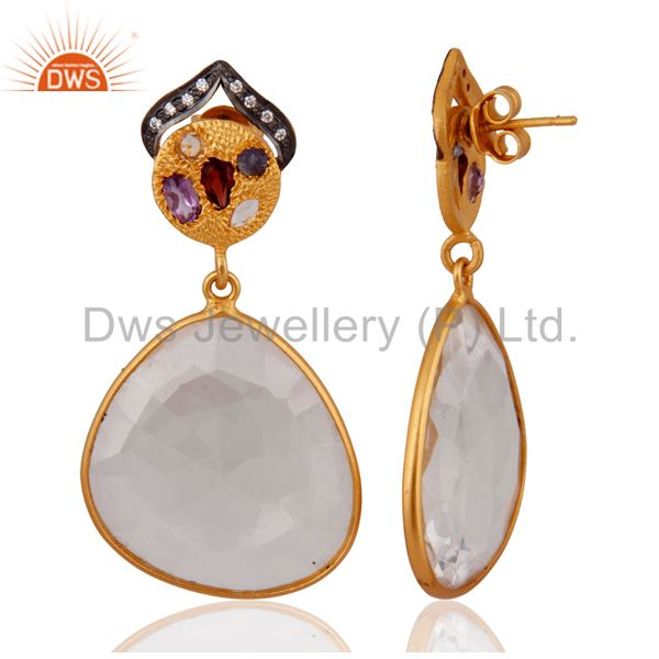 Exporter .925 Sterling Silver Faceted Crystal Bezel Set Gold Plated Dangle Drop Earrings
