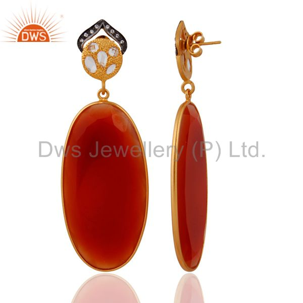 Exporter Handmade 925 Sterling Silver Gold Plated Red Onyx Gemstone Dangle Earrings