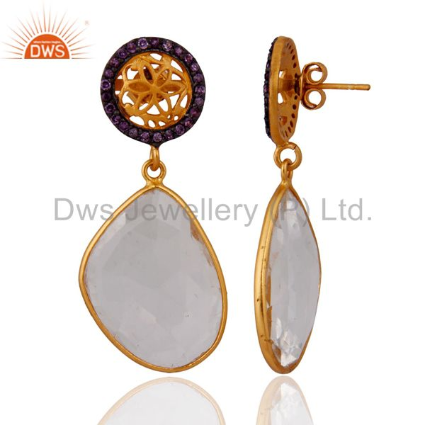 Exporter Sterling Silver Natural Amethyst Set Crystal Quartz Earring With Gold Plated