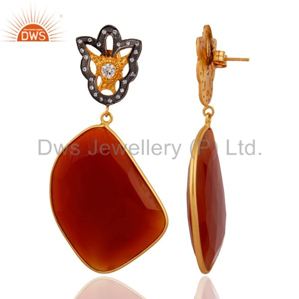 Exporter Natural Gemstone Red Onyx Slice Cut 18k Gold Plated 925 Sterling Silver Earrings