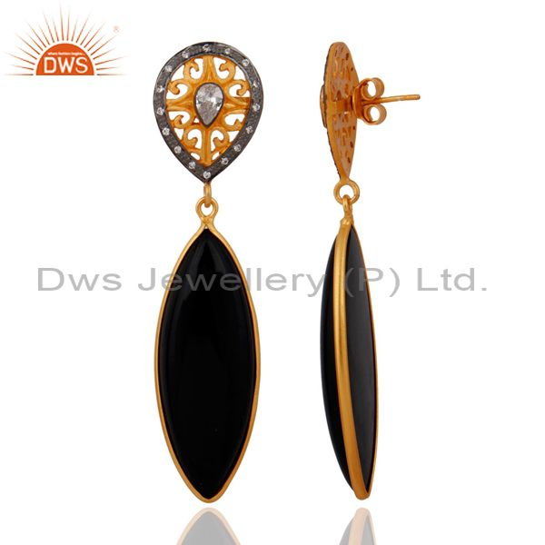 Exporter White Cubic Zirconia 925 Sterling Silver Black Onyx Drop Dangle Earring With 18K