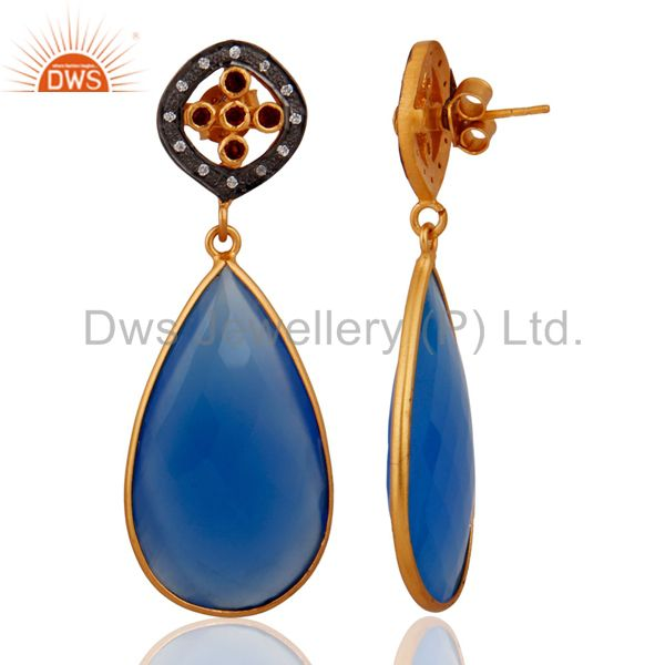 Exporter Blue Chalcedony Gemstone Yellow Gold Plated Sterling Silver Garnet Drop Earring