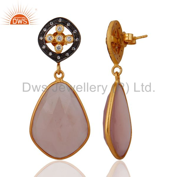 Exporter White Cubic Zirconia 925 Sterling Silver 18k Gold Plated Chalcedony Earrings