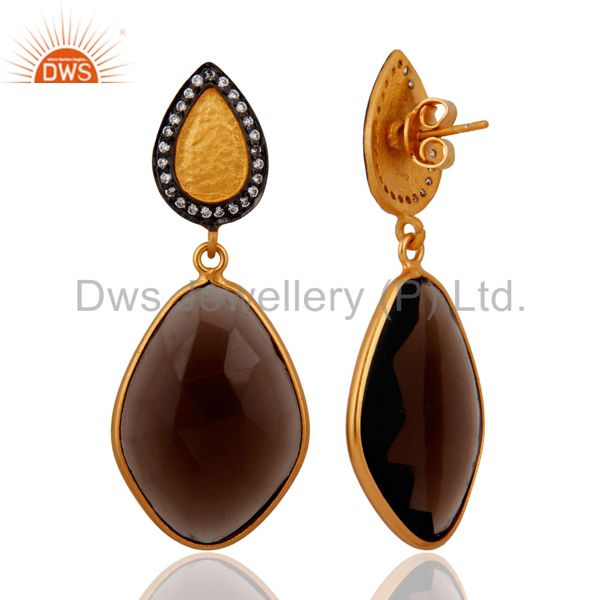 Exporter 925 Sterling Silver Smoky Quartz Earrings 18k Gold Plated Wedding Jewelry