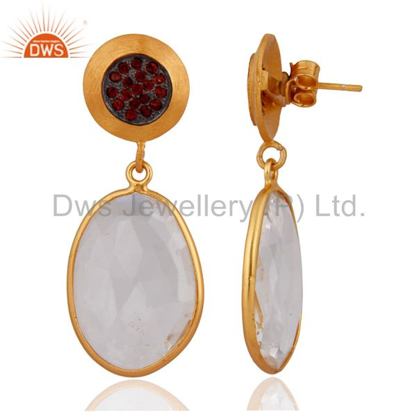 Exporter Crystal Quartz 925 Sterling Silver Gold Plated Garnet Gemstone Earrings