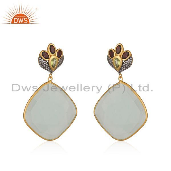 Exporter Multi Gemstone Gold Plated Brass Fashion Earrings Manufacturers india