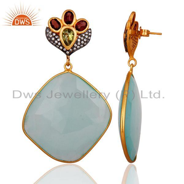 Exporter AQUA Chalcedony Faceted Plated 18kt. Gold over Sterling Silver Gemstone Earring