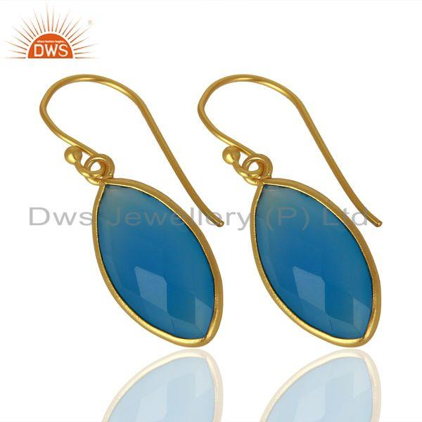 Exporter Blue Chalcedony Drop 14K Yellow Gold Plated 925 Sterling Silver Earrings Jewelry