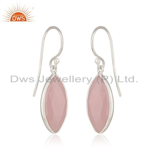 Exporter Rose Chalcedony Gemstone Fine 925 Sterling Silver Earring Supplier