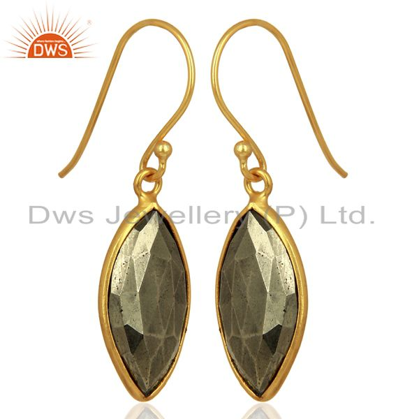 Exporter Pyrite Gemstone Bezel Set Sterling 925 Silver 18K Gold Plated Dangle Earrings