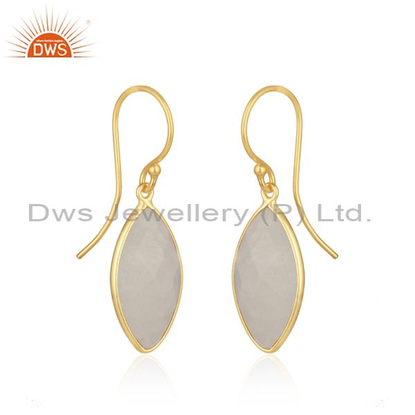 Exporter Natural Rainbow Moonstone Gold Plated 925 Silver Earrings Supplier