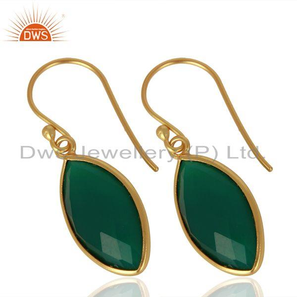 Exporter Green Onyx Drop 14K Gold Plated 925 Sterling Silver Earrings Jewelry