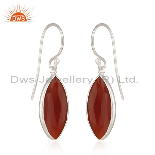 Exporter Fine 925 Sterling Silver Red Onyx Gemstone Earrings Supplier