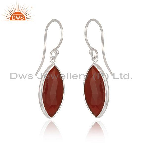 Exporter Red Onyx Gemstone White Sterling Silver Drop Earrings Manufacturer