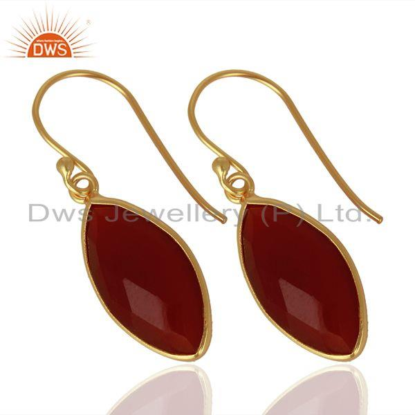 Exporter Red Onyx Drop 14K Gold Plated 925 Sterling Silver Earrings Jewelry