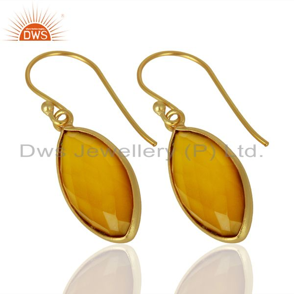 Exporter Yellow Chalcedony Drop 14K Gold Plated 925 Sterling Silver Earrings Jewelry