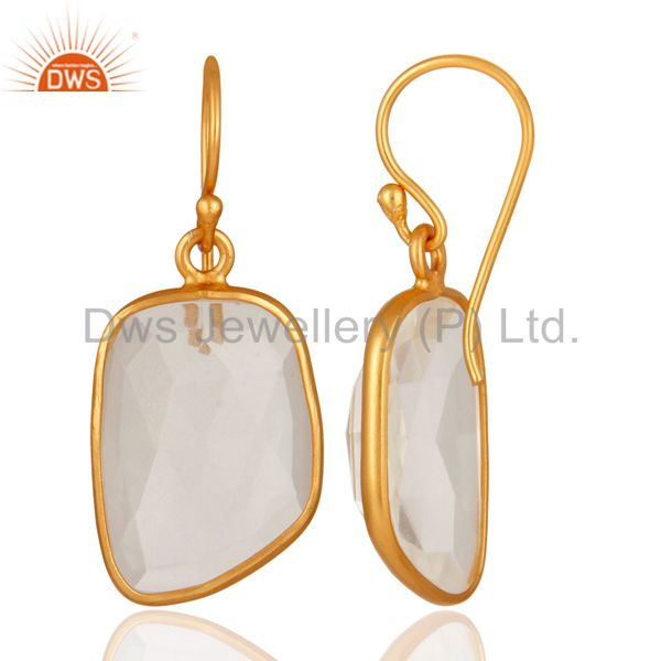 Exporter 18K Gold Plated Sterling Silver Natural White Woonstone Bezel Set Earrings