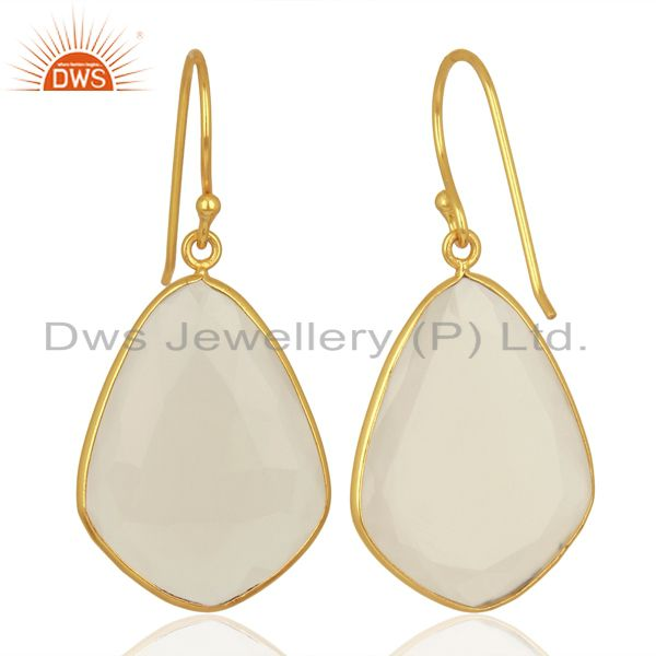 Exporter White Chalcedony Gemstone Gold Plated Fashion Earring Manufacturer