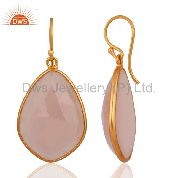 Exporter Natural Chalcedony Gemstone Earrings Made In 18k Gold Over 925 Sterling Silver