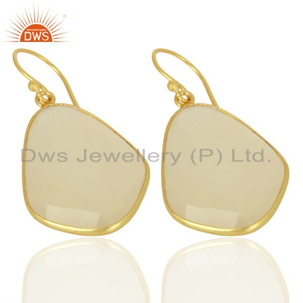 Exporter Natural White Chalcedony Bezel Drop Wholesale Unshape Gemstones Earring