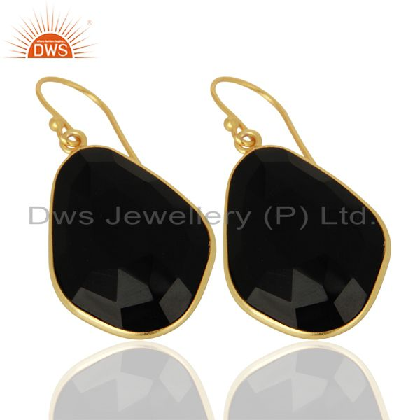 Exporter Black Onyx Large Single Drop Gold Plated 92.5 Sterling Silver Earring