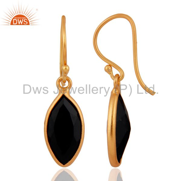 Exporter Sterling Silver Pear Shaped Black Onyx Gold Plated French Wire Dangle Earrings