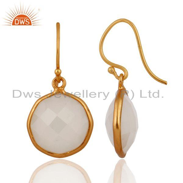 Exporter Gold Plated White Chalcedony Gemstone 925 Sterling Silver Handmade Hook Earring
