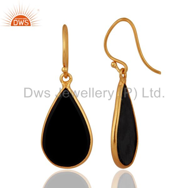 Exporter 925 Sterling Silver 18k Gold Plated Black Onyx Gemstone Drop Earrings Jewelry