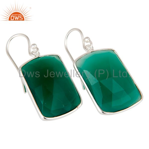 Exporter Solid Plated Sterling Silver Green Onyx Gemstone Bezel Set Earrings
