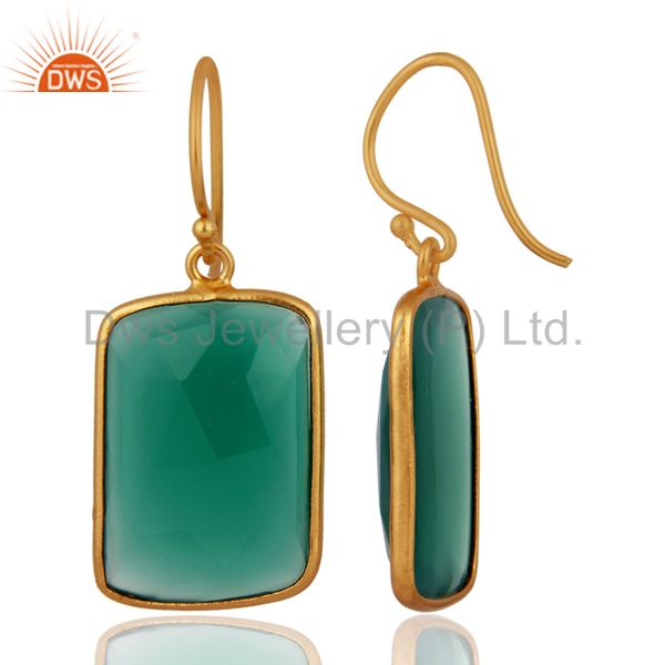 Exporter 18K Yellow Gold Plated Sterling Silver Green Onyx Gemstone Bezel Set Earrings