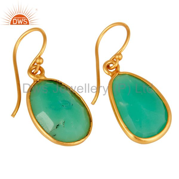 Exporter Handmade Sterling Silver With Gold Plated Chrysoprase Bezel Gemstone Earrings