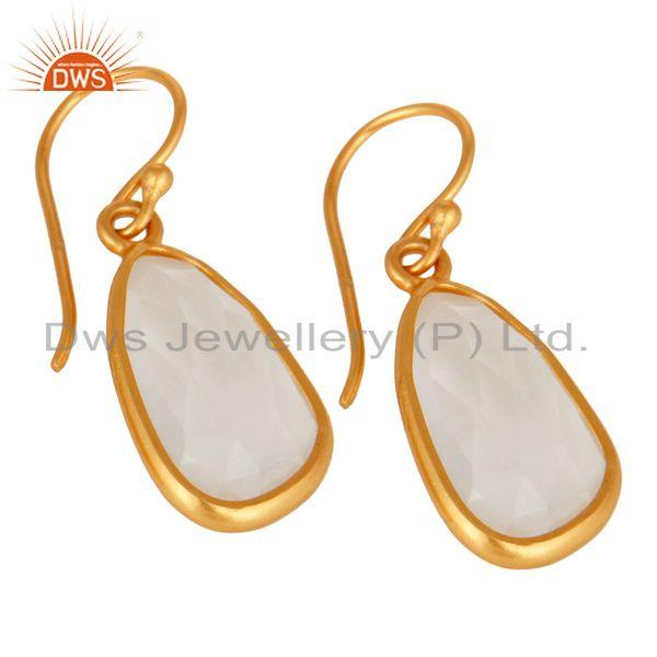 Exporter Sterling Silver Natural Crystal Quartz Hook Bezel Set Earrings With Gold Plated