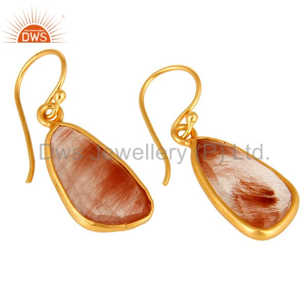Exporter Handmade 925 Sterling Silver Golden Rutilated Quartz Earrings With Gold Plated