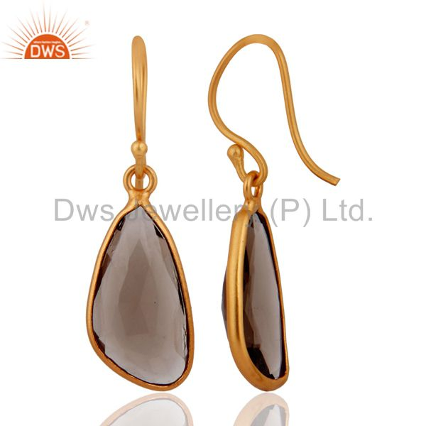 Exporter 925 Sterling Silver Natural Smoky Quartz Hook Earring With Gold Plated Jewelry