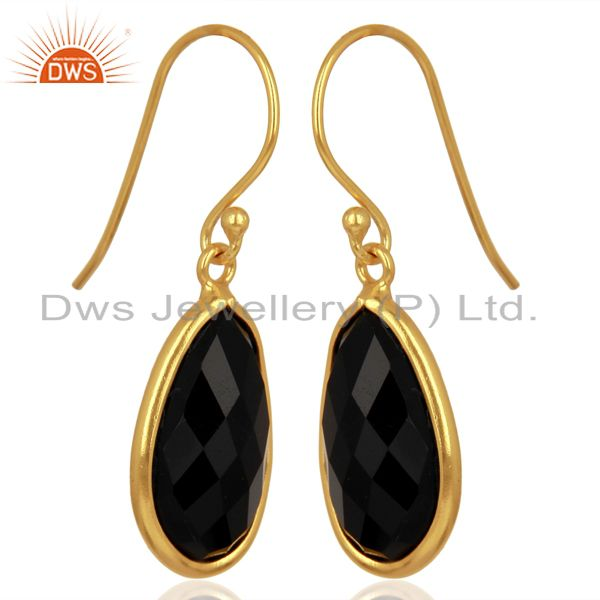 Exporter Black Onyx Handcrafted Artisan Drop Gold Plated Sterling Silver Jewelry