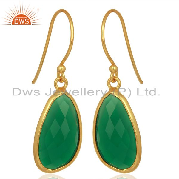 Exporter Green Onyx Handcrafted Artisan Drop Gold Plated Sterling Silver Jewelry