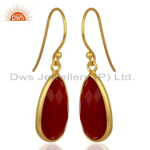 Exporter Red Onyx Handcrafted Artisan Drop Gold Plated Sterling Silver Jewelry