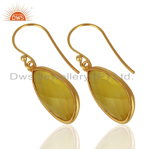 Exporter Yellow Chalcedony Handcrafted Artisan Drop Gold Plated Sterling Silver Jewelry