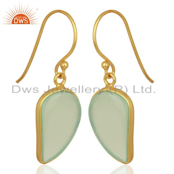Exporter Aqua Chalcedony Handcrafted Artisan Abstract Gold Plated Drop Wholesale Earrings