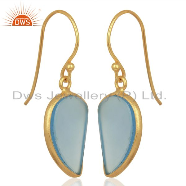 Exporter Blue Chalcedony Handcrafted Artisan Abstract Gold Plated Drop Wholesale Earrings