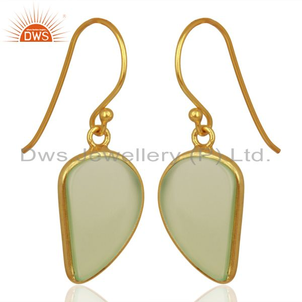 Exporter Prehnite ChalcedHandcrafted Artisan Abstract Gold Plated Drop Earrings