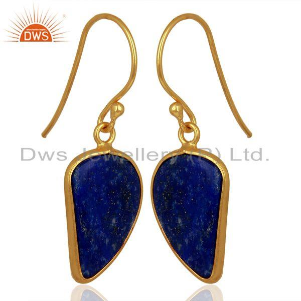 Exporter Lapis Handcrafted Artisan Abstract Gold Plated Drop Wholesale Earrings