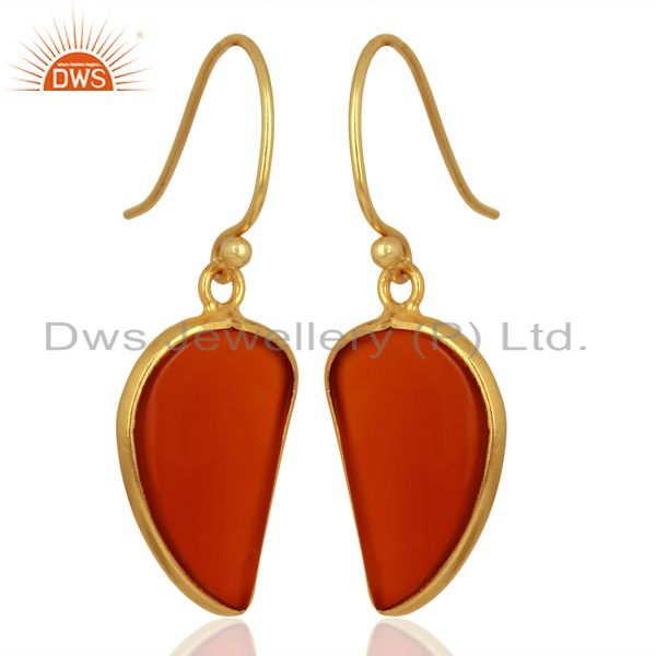 Exporter Red Onyx Handcrafted Artisan Abstract Gold Plated Drop Wholesale Earrings