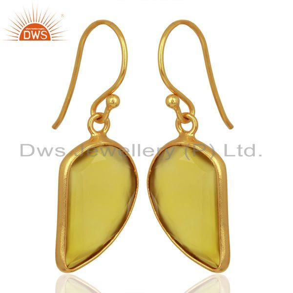 Exporter Yellow ChalcedonyHandcrafted Artisan Abstract Gold Plated Drop Wholesale Earring